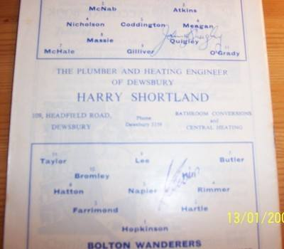 Huddersfield v Bolton 1965/66 football league programme + autographs