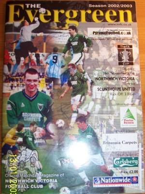 Northwich v Scunthorpe FA Cup 2002/03 + Autograph football programme