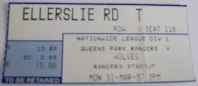 QPR v Wolves 1996/97 football ticket
