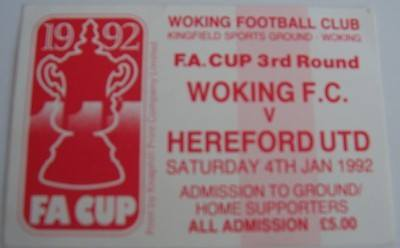 Woking v Hereford United FA Cup 3rd round 1991/92 football ticket
