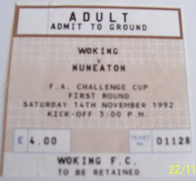 Woking v Nuneaton FA Cup 1st round 1992/93 football ticket