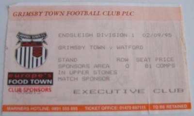 Grimsby Town v Watford 1995/96 football ticket