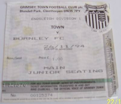 Grimsby Town v Burnley 1994/95 football ticket