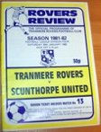 Tranmere Rovers v Scunthorpe United 1981/82 football programme