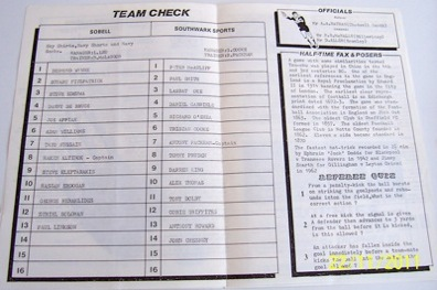 Sobell v Southwark Sports 1988/89 football programme