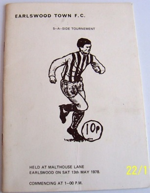 Earlswood Town 5-a-Side Tournament 1977/78 football programme