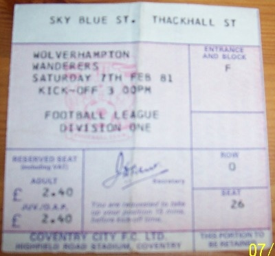 Coventry City v Wolves 1980/81 football ticket