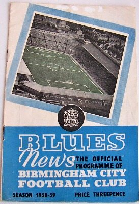 Birmingham v Preston North End 1958/59 football programme