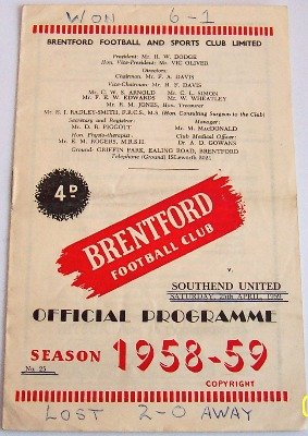 Brentford v Southend United 1958/59 football programme