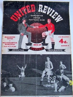 Manchester United v Wolves 1956/57 football programme
