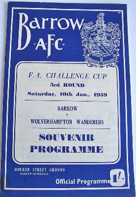 Barrow v Wolves FA Cup 3rd Round 1959/60 football programme