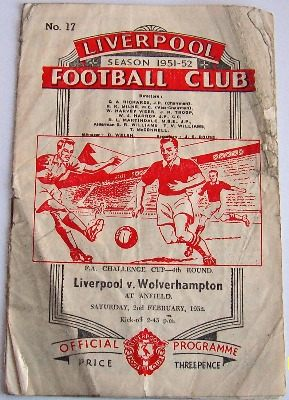 Liverpool v Wolves 1951/52 FA Cup football programme