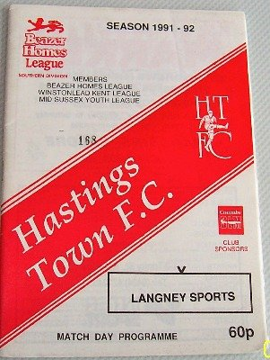 Hastings Town v Langney Sports FA Vase 1991/92 Football Programme