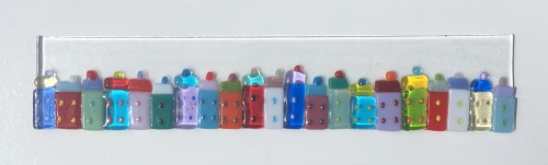 Colourful cottages.  30cm x 10cm