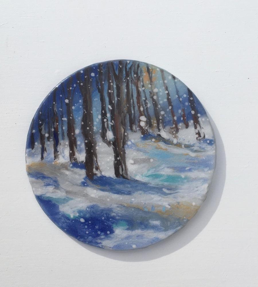 Mini Snow scene.  10cm.  Framed 15cmx15cm