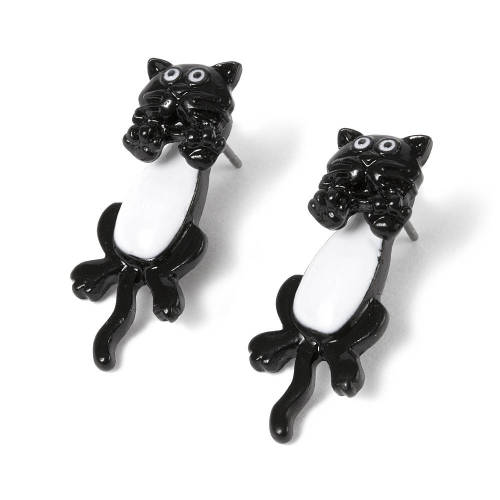 BLACK AND WHITE DANGLY CAT EARRINGS