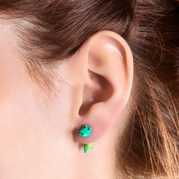 GREEN CROCODILE EARRINGS