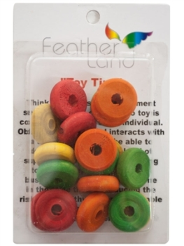 WOODEN WHEEL BEADS - 18 PACK