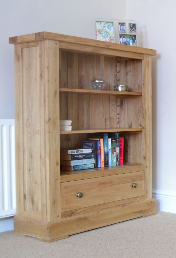 Hampton Abbey Low Wide Bookcase with Drawer