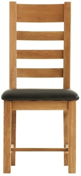 Heritage Oak Ladder Back Dining Chair with PU Seat
