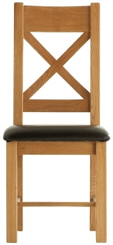 Heritage Oak Cross Back Dining Chair with PU Seat