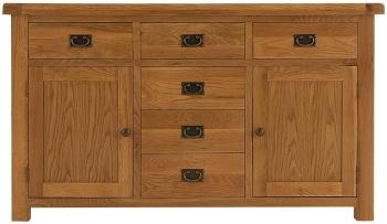 Heritage Oak Small 2 Door 6 Drawer Sideboard