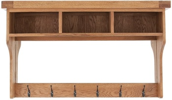 Heritage Oak Hall Shelf with Mirror