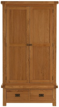 Heritage Oak 2 Door 2 Drawer Wardrobe