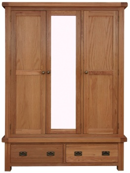 Heritage Oak 3 Door Wardrobe with Mirror