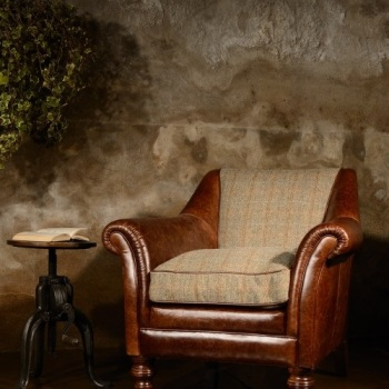 Harris Tweed Dalmore Accent Chair B - Leather/Fabric