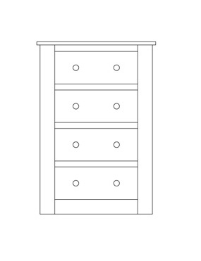 Quercus Wellington Chest 4 Drawer