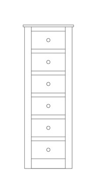 Quercus Narrow Chest 6 Drawer