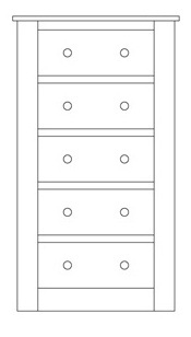 Quercus Wellington Chest 5 Drawer