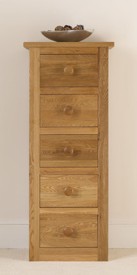 Quercus Narrow Chest 5 Drawer