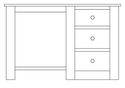 Quercus Single Pedestal Dressing Table