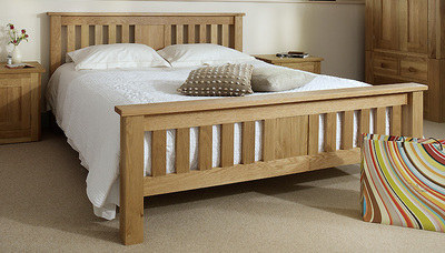 Quercus Super-King Slat Bed - High Foot End