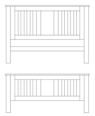 Quercus Double Slat Bed - High Foot End