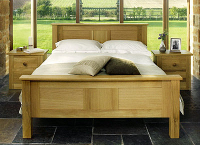 Quercus King-Size Panel Bed  - High Foot End