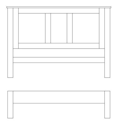 Quercus Double Panel Bed - Low Foot End