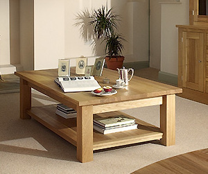 Quercus 4-3 Straight Leg Coffee Table with Shelf