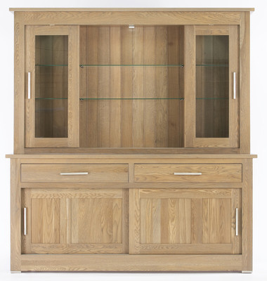 Quercus 1.8 2 Drawer Sliding Door Sideboard with Deluxe Sliding Door Top