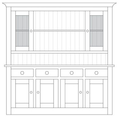 Quercus Small 4 Bay Dresser Base with Deluxe Glazed Top