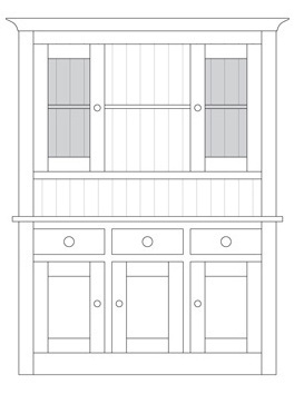 Quercus Small 3 Bay Dresser Base with Deluxe Glazed Top
