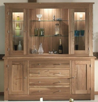 Quercus 1.8 Centre Drawer Sideboard with Deluxe Glazed Door Top