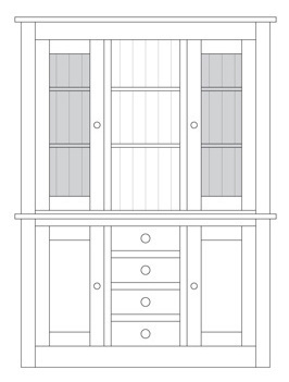 Quercus 1.5 Centre Drawer Sideboard with Deluxe Glazed Door Top