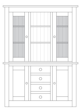 Quercus 1.5 Centre Drawer Sideboard with Glazed Top