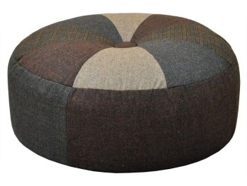 Harris Tweed Pumpkin Stool Large - Patchwork