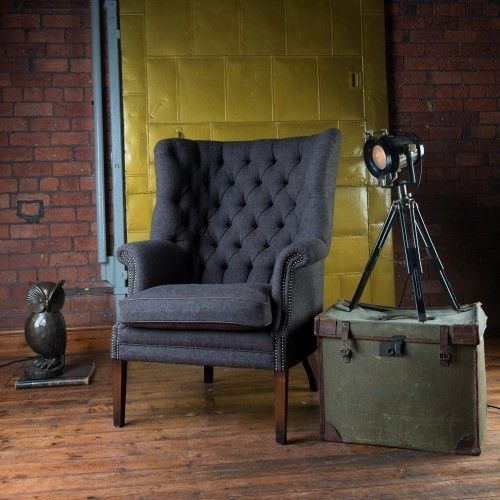 Harris Tweed MacKenzie Chair A - Hide Buttons & Piping
