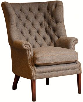 Harris Tweed MacKenzie Chair D - Hide Arms, Buttons & Piping