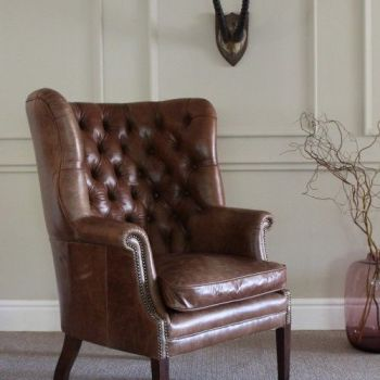 Harris Tweed MacKenzie Chair H - All Leather